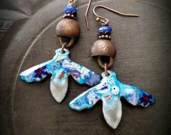 Enameled Charms, Flowers, Copper Buckets, Hoops, Dangle, Artisan Made, Vintage Beads, Flower Earrings, Beaded Earrings