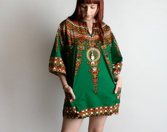 Vintage 1970s Dashiki - Emerald Green Ornate African Print Mini Dress or Blouse Shirt Top - Large