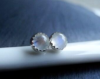 Moonstone Earring Studs,Rainbow Moonstone Silver Earrings,Gemstone Earrings,Moonstone Jewelry,Sterling Silver Hypoallergenic Studs (E268)