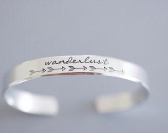 Wanderlust Cuff Bracelet - Skinny 1/4 inch