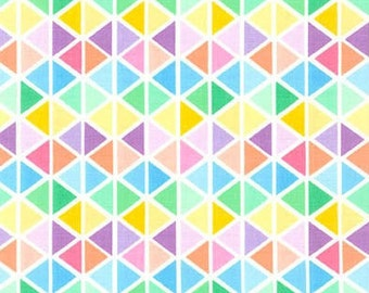 Triangle Fabric, Remix Fabric, Cotton Fabric, Spring fabric, Easter Fabric, Triangles in Sweet- Choose your cut, Free Shipping Available