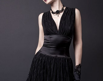 Black Chiffon and Satin Dress-Made to Measure (Your Size)