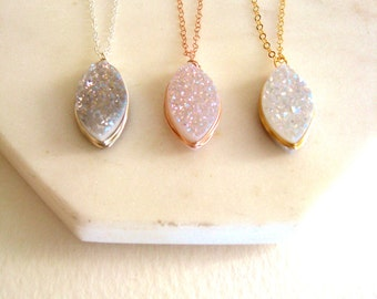 White druzy necklace Wedding necklace Bridal Jewelry drusy Petal Marquise Under 55 VitrineDesigns