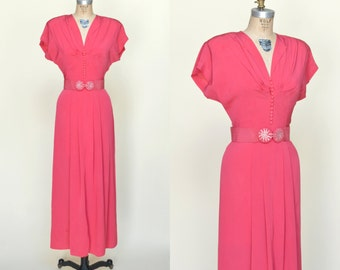 1940s DuBarry Gown --- Vintage Raspberry Dress