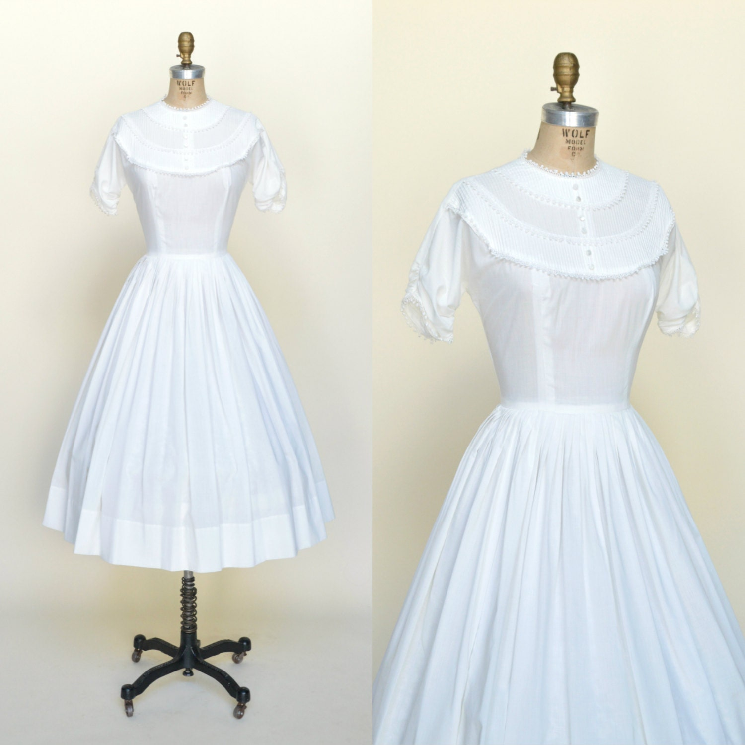 1950s white cotton dress vintage simple wedding dress for Simple cotton wedding dress