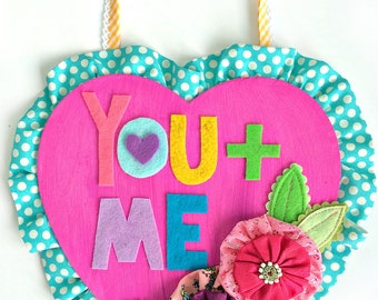 Painted Wood Sign for Valentines Day -- YOU + ME