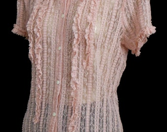 Vintage 40s Style Lace Blouse Shirt, 1990s Pink Embellished Vertical Stripe Lace Button Front Top, Size M Medium