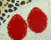 RED FILIGREE CAMEOS - 30 x 40 mm Ornate Oval Settings - Laser Cut Acrylic
