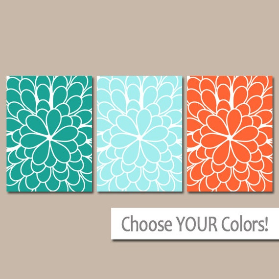 Teal Orange Wall Art Bedroom Wall Art CANVAS Or Prints