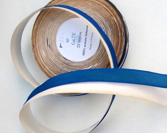 Vintage French Wired Acetate Laitonne Ribbon Gorgeous Dark Blue with Green Iridescent Sheen PSS 2874