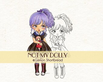 Digital Stamp Goth Girl with Doll, Halloween Digi Download, Gothic Lolita, Coloring Page, Clip Art, Big Eyed, Scrapbooking Supplies