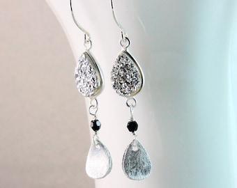 Grey   Druzy   Earrings    Sterling Silver  Gemstone    Jewelry Dangle  Silver Earrings Gray  Drusy Jewelry Women Jewellery Grey Stone