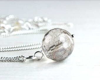 Rutilated Quartz  Necklace Sterling Silver Gemstone Jewelry  Quartz  Pendant Stone Necklace Round  Gemstone Pendant Casual Jewellery