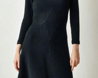 Vintage 60s Black Ribbed Dress