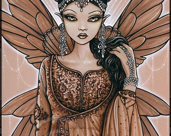 Reina ACEO Trading Card Indian Fairy Queen Art Brown Bronze Fae Limited Edition Canvas Myka Jelina