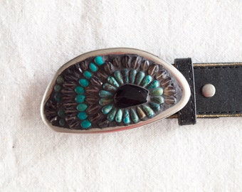 Womens Belt Buckle READY TO SHIP Mosaic Belt Buckle Colorful Buckle with Smoky Quartz & Semi Precious Stones includes Leather Belt