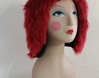 Furry Red Aviator Hat Fur