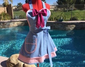 Cinderella Fairy Godmother inspired Costume Sassy Apron, Cosplay, Womens Plus Size Aprons,  Kitchen Apron, Retro Pin Up, Dress Up Costume