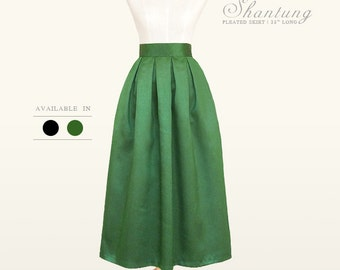 Shantung fully lined custom made pleated ankle length skirt with pockets in black and green for your wedding, bridesmaids, special occasion