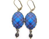 Scottish Tartan Jewelry - Ancient Romance Series - Elliot Elliott Clan Tartan Earrings with Mocha Swarovski Crystal Beads