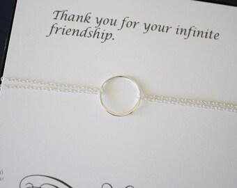 Karma Bracelet, Infinite Bracelet, Infinity Jewelry, Best friend Gift, Thank You Card, Sterling Silver  Bracelet