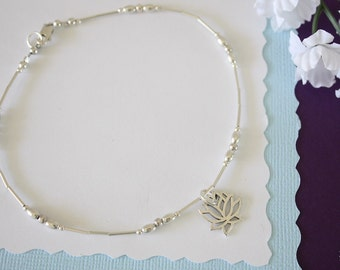 Lotus Anklet Silver Charm, Charm Anklet, Sterling Silver, Choose your Charm Anklet, Yoga, Nautical, Zen, USN, Beach, Vacation