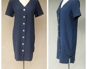 Navy blue polka dot dress / Ann Taylor SILK dress / 80s 90s button up office day dress / womens xs-small 2