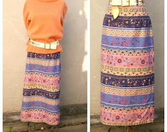 Vtg southwest skirt / floral denim skirt / long maxi skirt / high waisted boho skirt / womens medium 34 waist