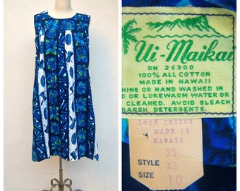 Blue Hawaiian / 60s Ui-Maikai Polynesian muu muu / Hawaiian print cotton shift / mid length short, tiki print / womens small xs xsmall