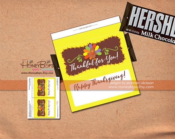 Thanksgiving Turkey 1-55 oz Hershey's Candy Bar Wrapper Instant Download - PDF file