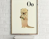 Otter print, nursery animal print, woodland nursery, alphabet letters, abc letters, alphabet print, animals prints for nursery