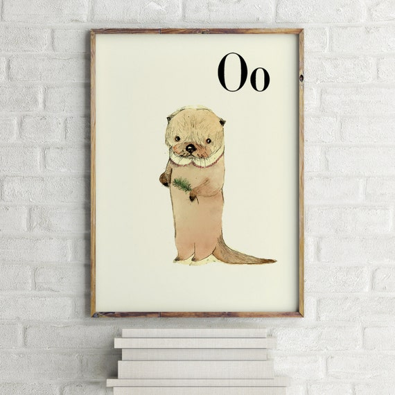O for Otter - Alphabet art - Alphabet print - ABC wall art - ABC print - Nursery art - Nursery decor - Kids room decor - Children's art