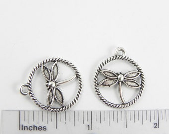 12 Dragonfly Charms in Antiqued Silver - 23mm x 20mm - double sided