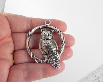 3 Owl Pendant Charms - LARGE - 45mm x 37mm - Round Hoop