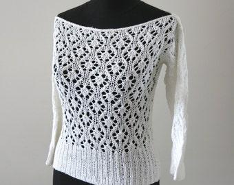 LEAVES - hand knitting - Vest tank sweater - 3/4 sleeves - in white