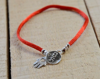 Prosperity & Success Coin Charm with Hamsa in Silver on Red String Bracelet - Men Women