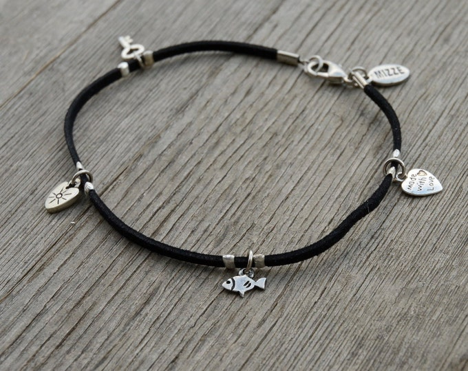 Black Suede Silver Plated Charms Anklet