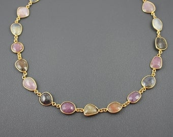 GORGEOUS Multicolor Sapphire Bezeled Necklace- Gold Filled by Yania Creations Jewelry