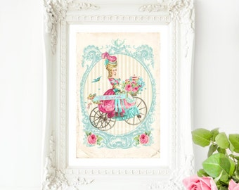 Marie Antoinette let them eat cake print with a vintage bicycle, French vintage decor in blue and pink, A4 giclee