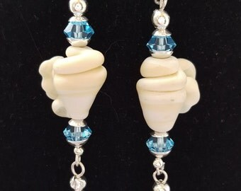 "For ""The Beach Comber"" Hand-crafted Lampwork Earrings"