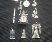 10 Assorted Charms Police Box, Time Travel, Angel, Silver Tone Metal