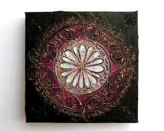 Persian - Original Abstract  Mandala Textured Painting on Canvas - Purple, Lilac, White, Black, Gold | Bohemian Decor Purple and Gold
