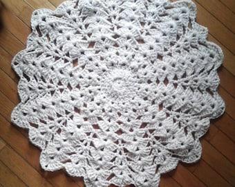 "Off White Cotton Crochet Rug 30"""