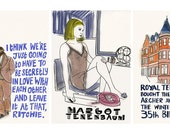 """Wes Anderson Film art print quotes Margot & Ritchie The Royal Tenenbaums - Three 4"""" X 6"""" prints"""