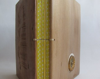 Blank book  Yellow diary Wooden covers Sketch book