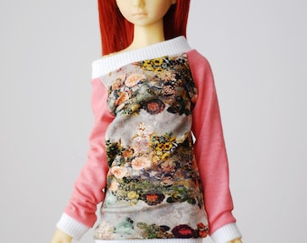 Flower print relaxed fit top with contrast sleeves - slim mini MSD BJD clothes