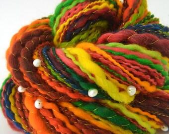 Handspun Yarn -  Merino Yarn - Freshwater Pearls - 1.75oz, 120yd, 14WPI