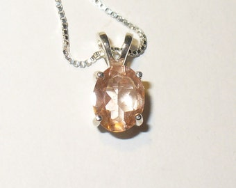 Pink Andesine in Sterling Pendant ~ Genuine Mined Gemstone in Solid Sterling Silver