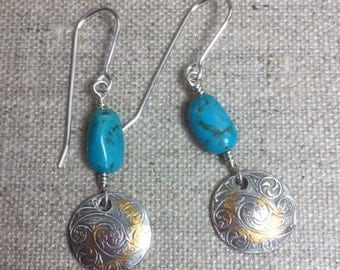 Fine Silver Earrings with Keum Boo & Turquoise