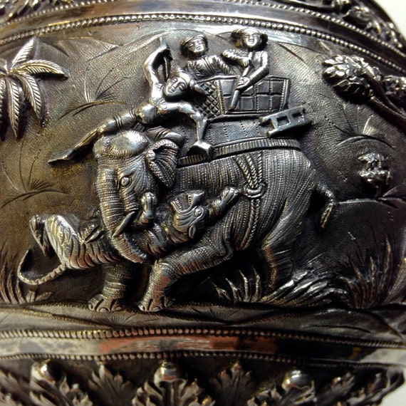 1890 Repousse Silver Rose Bowl Lucknow, India (370 grams)